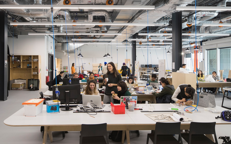 Students in the main studio, UCL at Here East