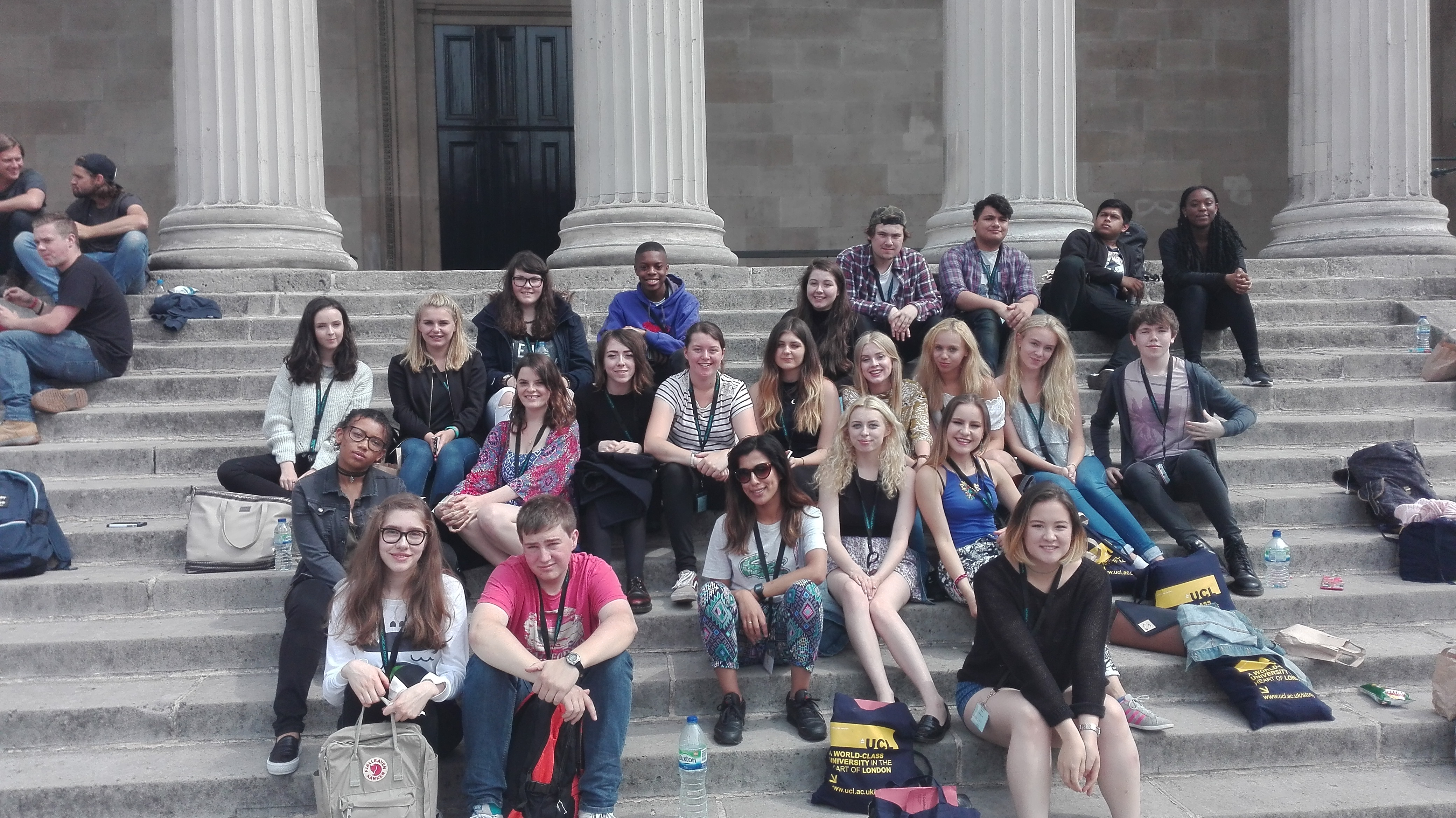 Summer School students on the Portico steps