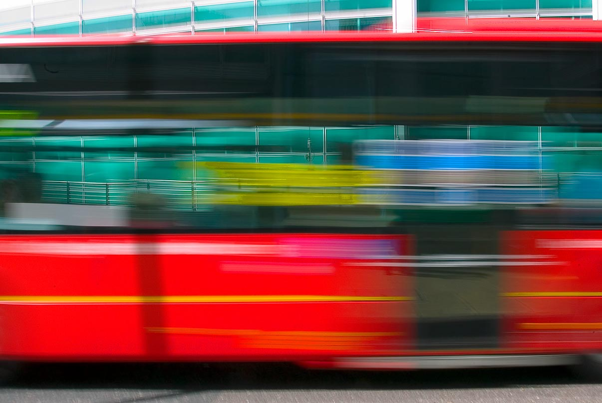 Blurred image of a London bus