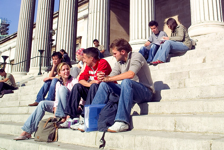 Students on the steps of the UCL main building