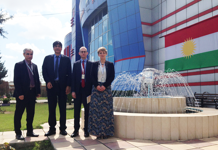 Members of the Nahrein Network team outside the University of Kurdistan-Hewler, Erbil