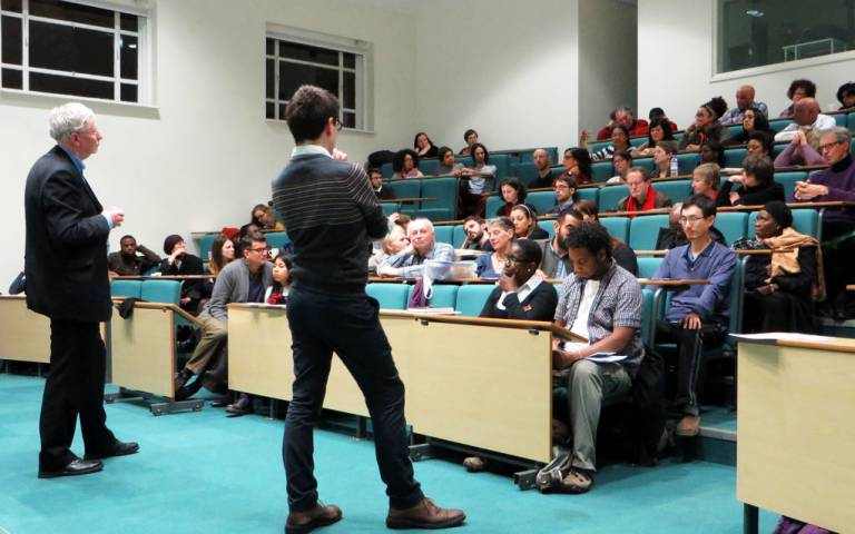 UCL History's Melvyn Stokes and Matt Jones deliver a lecture to an audience