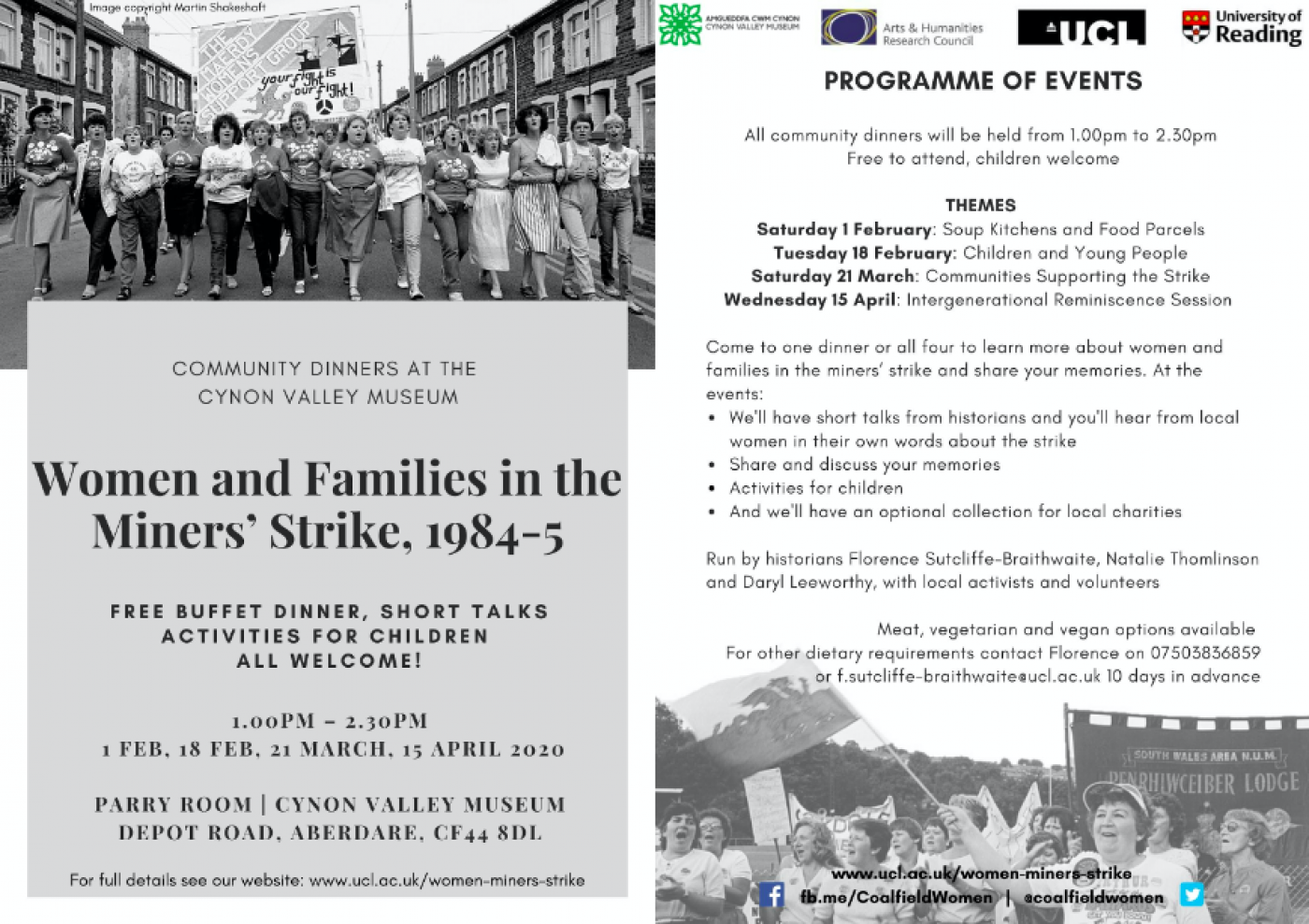 Community dinners at the Cynon Valley Museum
