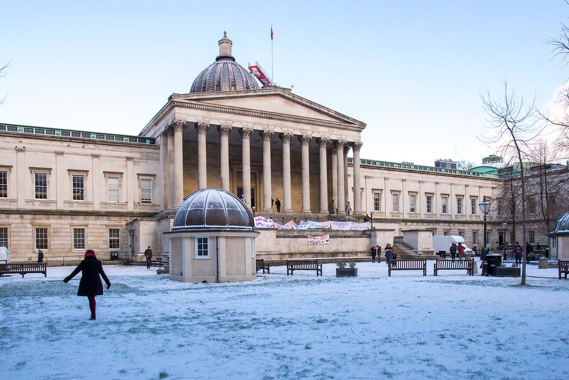 The front quad of UCL in the snow