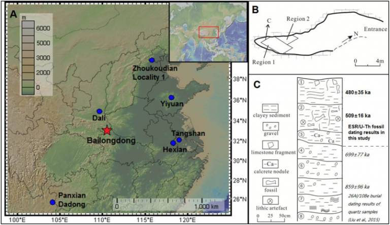 Location of the Bailongdong site and some other Middle Pleistocene hominin sites