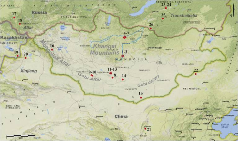 Geographical locations of Middle and Upper Palaeolithic sites in Mongolia (Rybin, 2018)