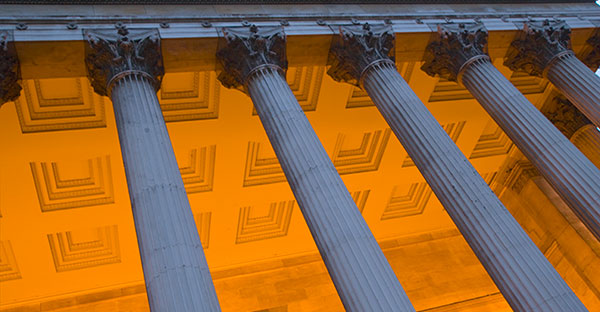 abstract image of UCL's main quad pillars