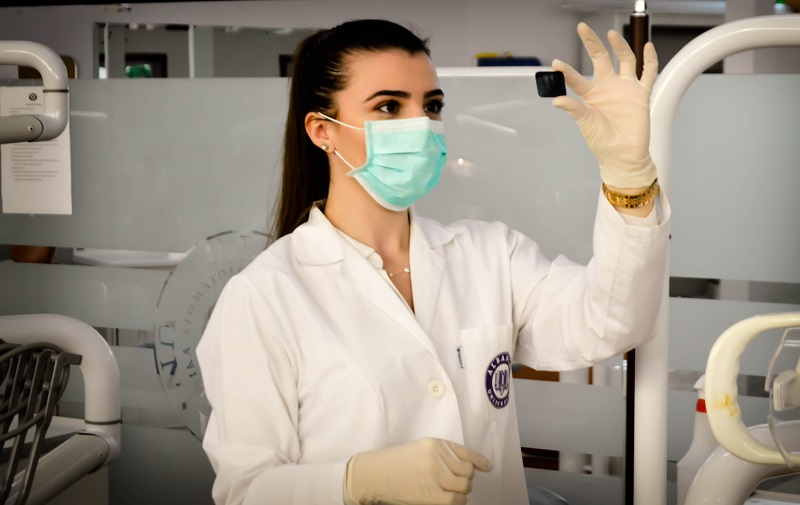 Woman researcher checking the sample