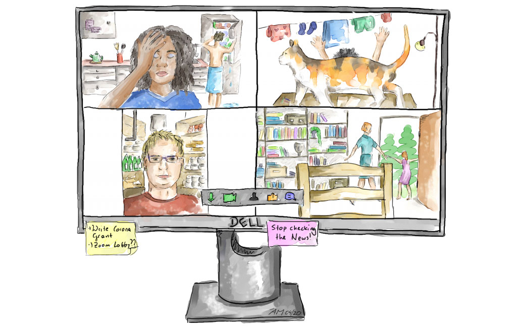 ZOOMany meetings: Illustration by Angelika Manhart for http://coopersquarereview.org