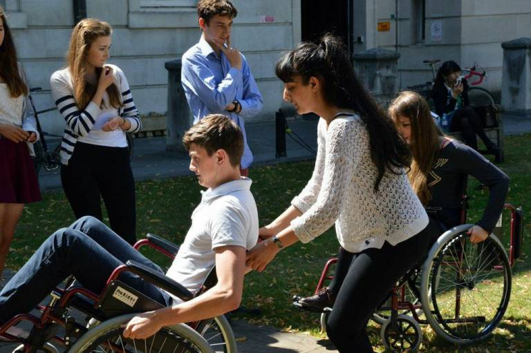 Students in wheelchairs on campus