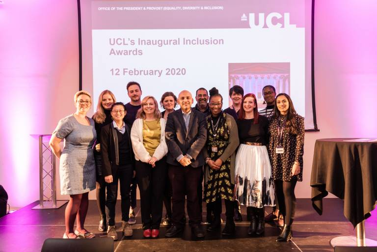 image shows members of the EDI team at the inaugural inclusion awards night