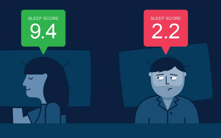 graphic showing a couple in bed, one sleeping soundly and the other wide awake