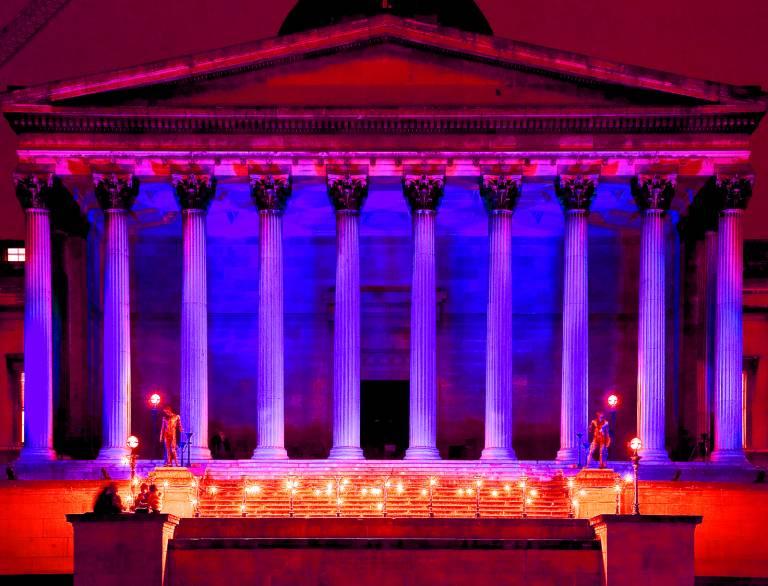 UCL main quad at night