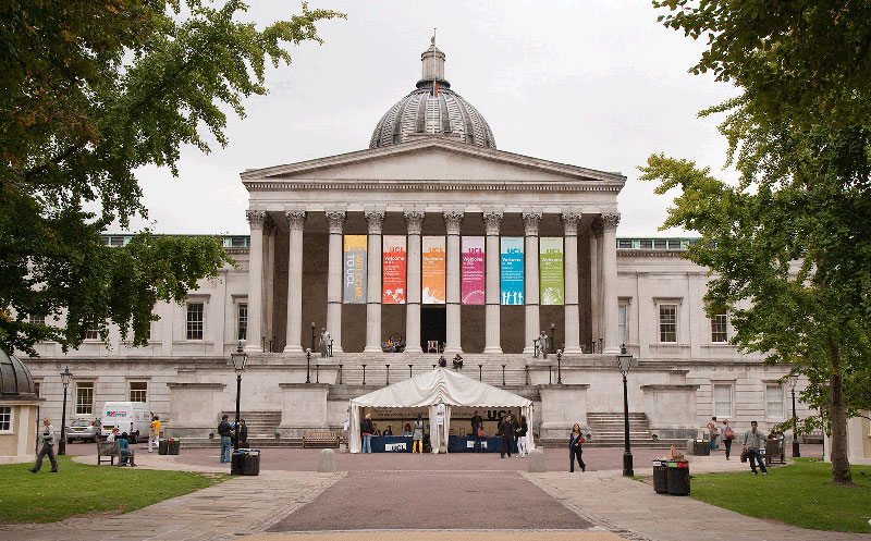 Image shows the main UCL Portico and Main Quad
