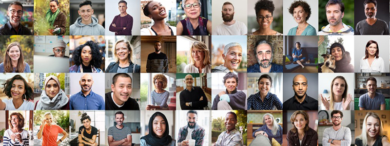 Postage stamp sized portrait shots of lots of different people