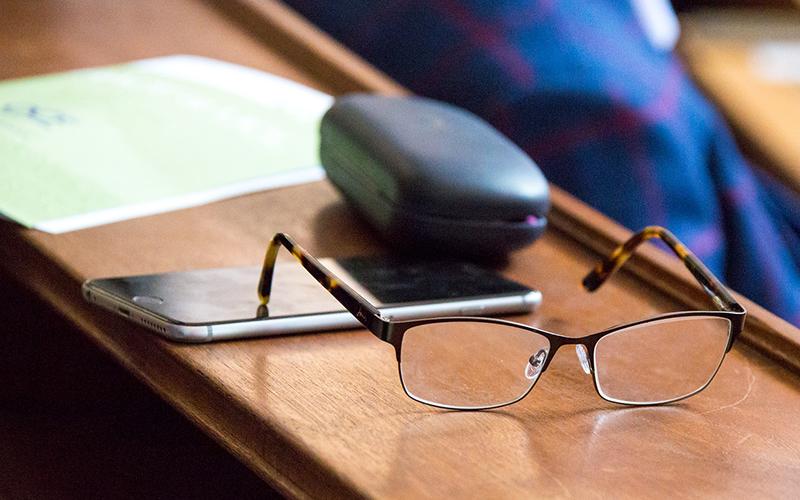Image of glasses on a desk