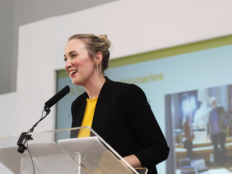 Alice Chilver delivering a presentation at the UCL Welcome