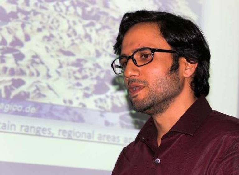Navin Hakoo of Jammu University speaking at the Sustainable Development in the Himalaya conference