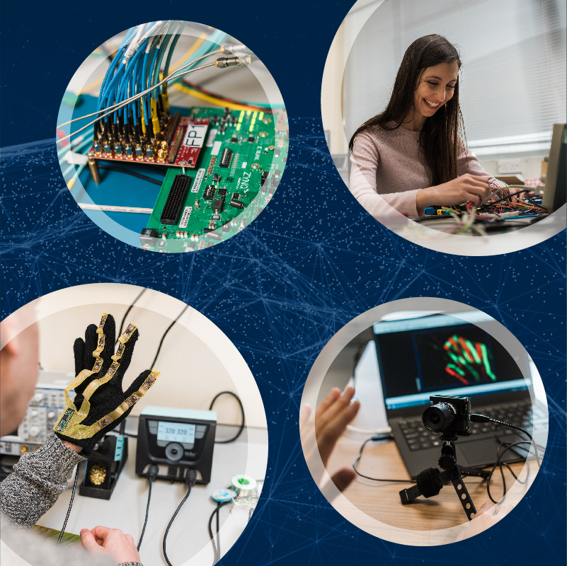4 examples of Research showing a female researcher in the lab, fibre optic cables interfacing with a FPGA, a glove with motion sensors attached, and a camera with visual data processing.