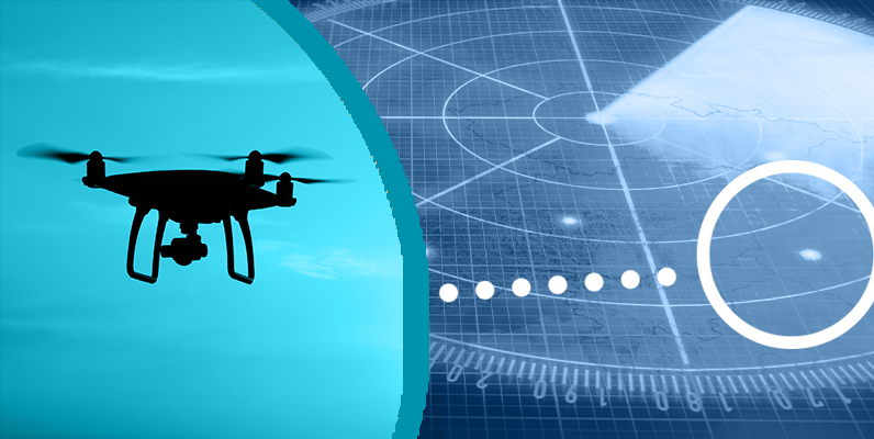 Split screen of a drone hovering and a flight path radar monitor screen
