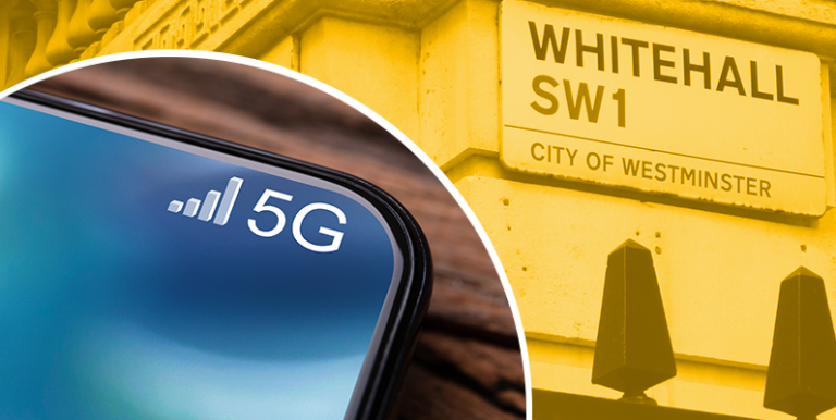 Image of phone with 5G signal and image of Whitehall road sign