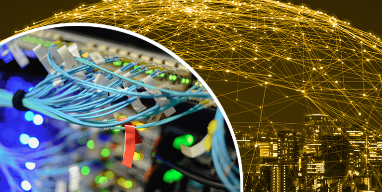 Image of fibre cables plugging into router, background image of city with many connections and nodes above the similar creating a complex network