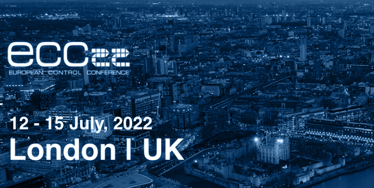 Image of London with text saying ECC 22, European Control Conference, 12-15 July 22