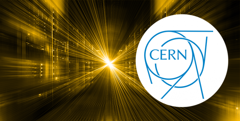 Server room with artistic effect to make lights merge as though coming from the future, CERN logo overlayed.