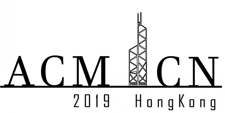Text Logo for conference ACM-ICN, the I has been replaced with a transmitter tower