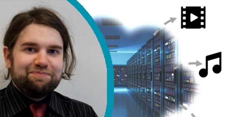 Picture of Kari Clark, next to image of data centre racks