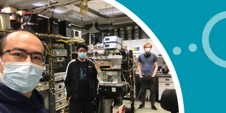 Zhixin Liu and two researchers in the ONG lab wearing PPE face masks