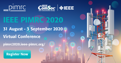 Image of communication tower with PIMRC conference 2020 event dates
