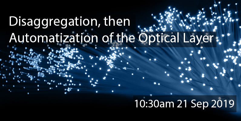 "Fibre optics ends, with overlay text ""Disaggregation, then Automatization of the Optical Layer"""