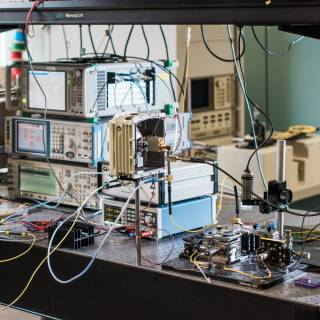 Research experiment looking at fibre to air interface
