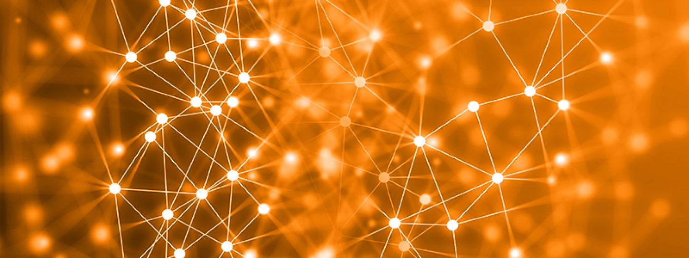 Decorative image of vectors and nodes resembling an artistic version of a network