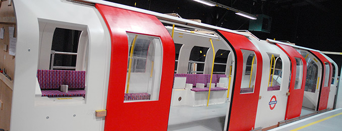 Replica tube train and platform at UCL's PAMELA facility