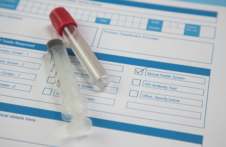 Sexual health check vials and form