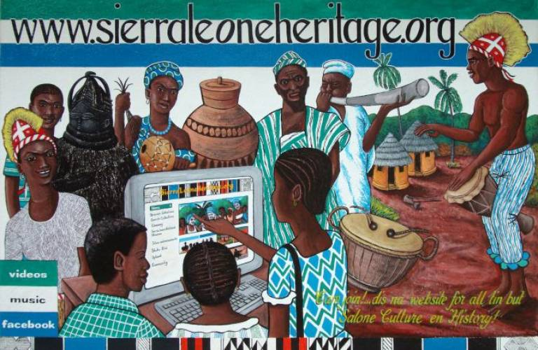 A mural promoting the SierraLeoneHeritage.org resource painted on the wall of the Sierra Leone National Museum by the Freetown-based artist Julius Parker