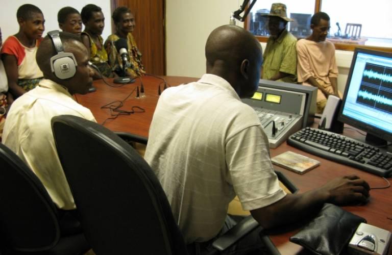 Radio Biso na Biso recording an Mbendjele language programme (2009) - Jerome Lewis