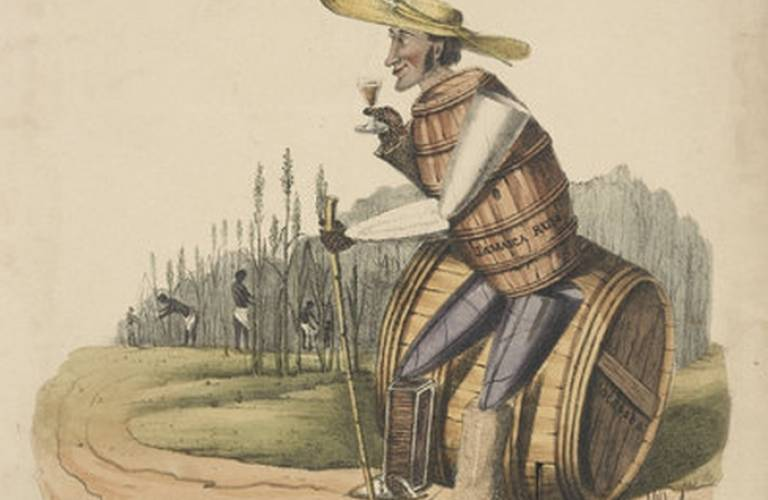 'Caricature of Tom Sugar Cane a British Sugar Planter, 1830' by G. Spratt, (c) Museum of London.