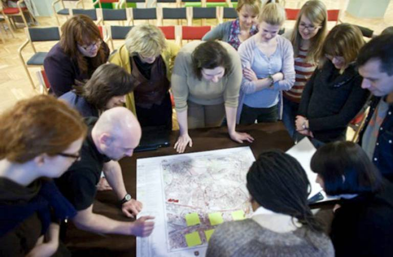 Participants at workshop selecting areas to map