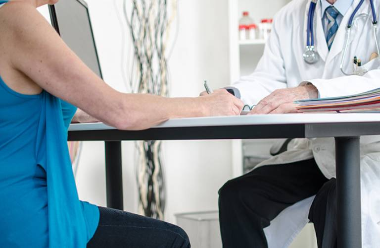 Patient and doctor in consultation