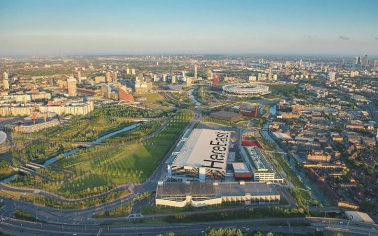 Aerial view of Here East within the Olympic park
