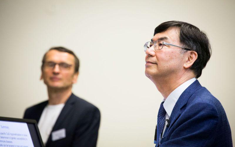 Professor Shimon Sakaguchi from Osaka University pictured with Professor Hans Stauss, IIT Director at the 2018 IIT Symposium