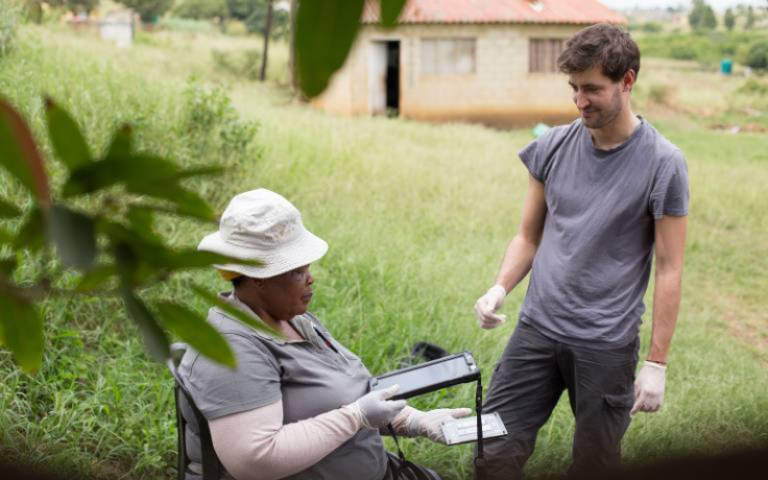 Africa Health Research Institute (AHRI) fieldworkers testing the app with research participants in northern KwaZulu-Natal, South Africa