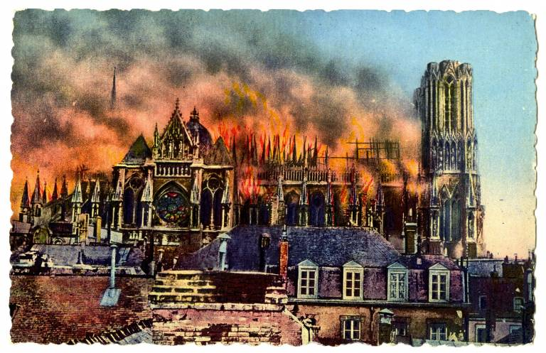 Reims Cathedral burning during World War I
