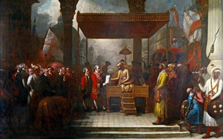 Painting of Shah 'Alam conveying the grant of the Diwani to Lord Clive, Benjamin West, 1818