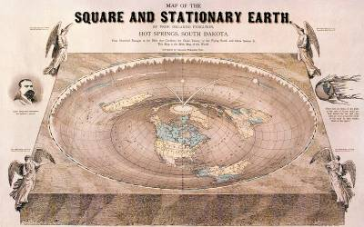 """A """"flat-Earth"""" map drawn by Orlando Ferguson in 1893, outer space studies ucl"""