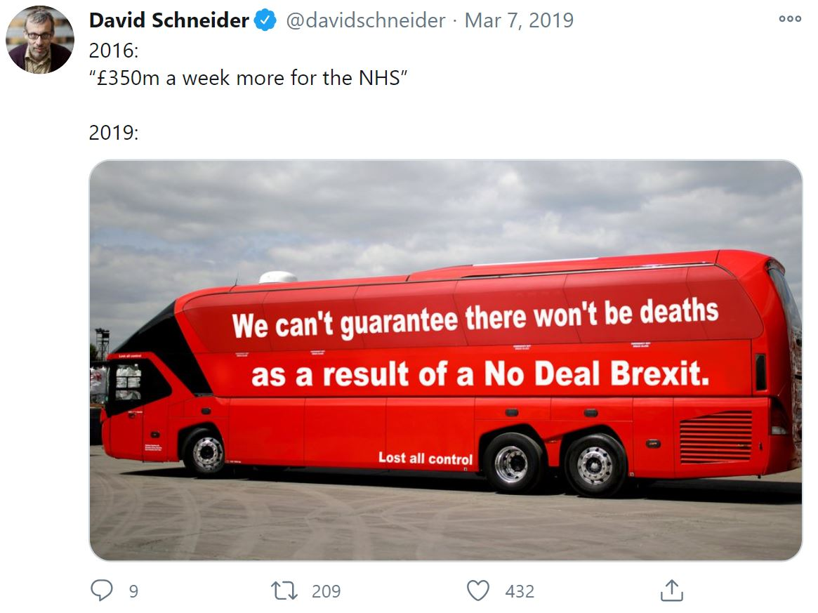 David Schneider, 2016: £350m a week for the NHS, 2019, from his twitter account © David Schneider.  Courtesy of the author.
