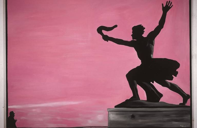 László Fehér, Under the Statue I, oil on canvas, 180x250cm, 1989. Courtesy artist